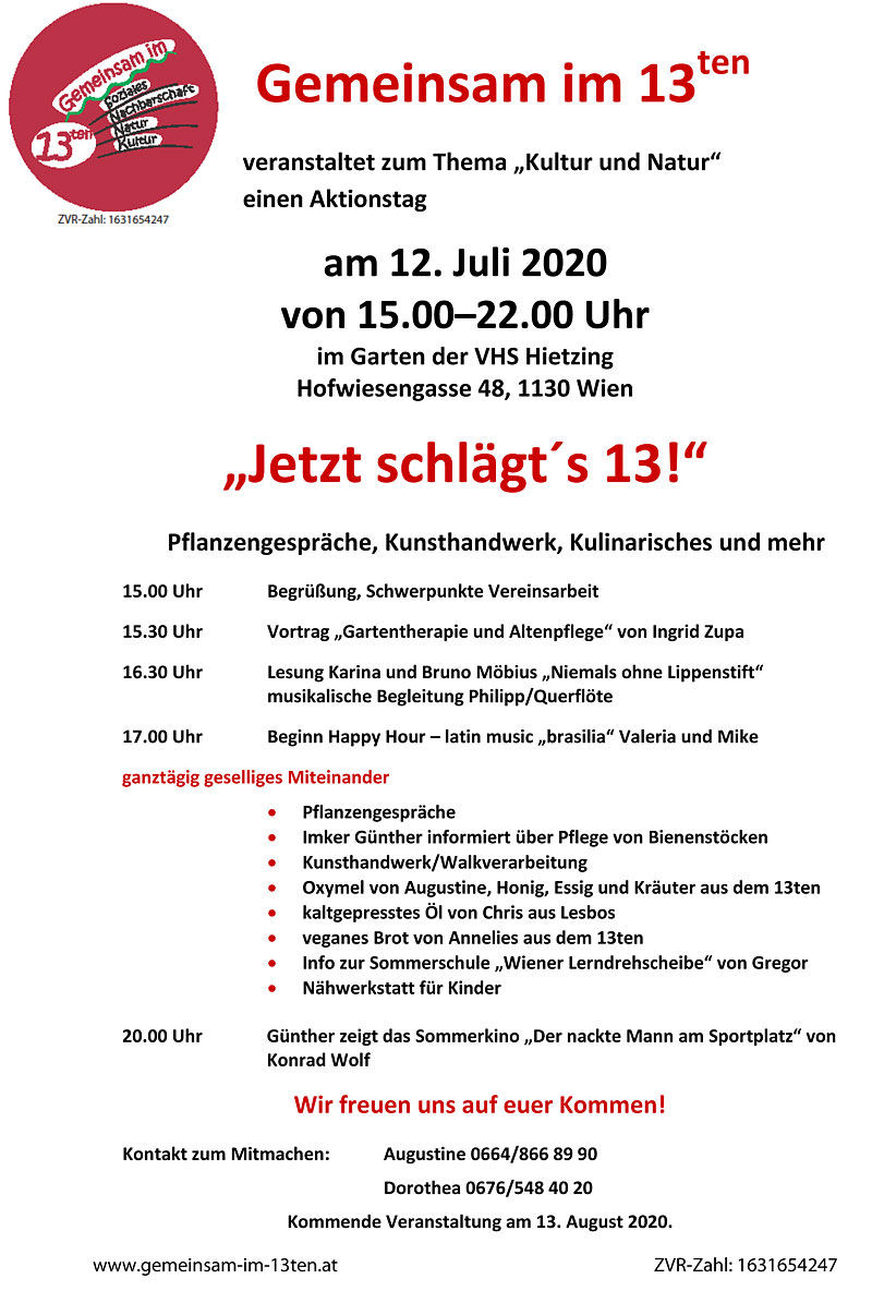 """Jetzt schlägt´s 13! - Aktionstag zum Thema """"Natur und Frieden"""" (Julitermin)"""
