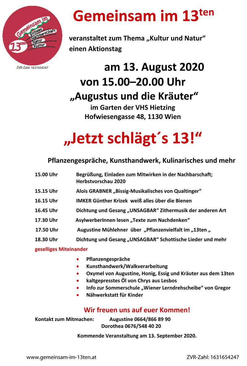 """Jetzt schlägt´s 13! - Aktionstag zum Thema """"Kultur und Natur"""" (August 2020)"""
